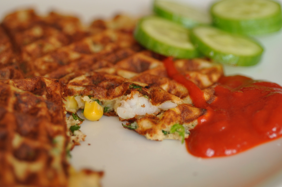 Prawn, sweetcorn, coriander and chilli sourdough waffles. Served with Sriracha chilli sauce.  Image: © Siu Ling Hui