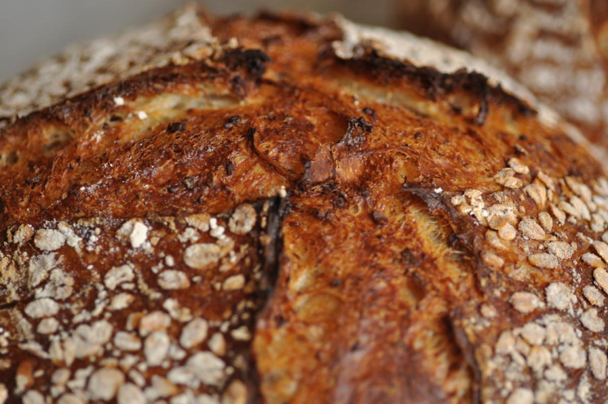 Close up view of crust of Oat Porridge Bread Image: © Siu Ling Hui