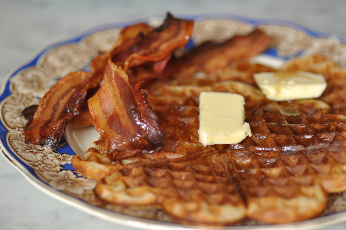 Sourdough waffles with crisp dry-cured bacon, maple syrup (and of course, butter).  Image: © Siu Ling Hui