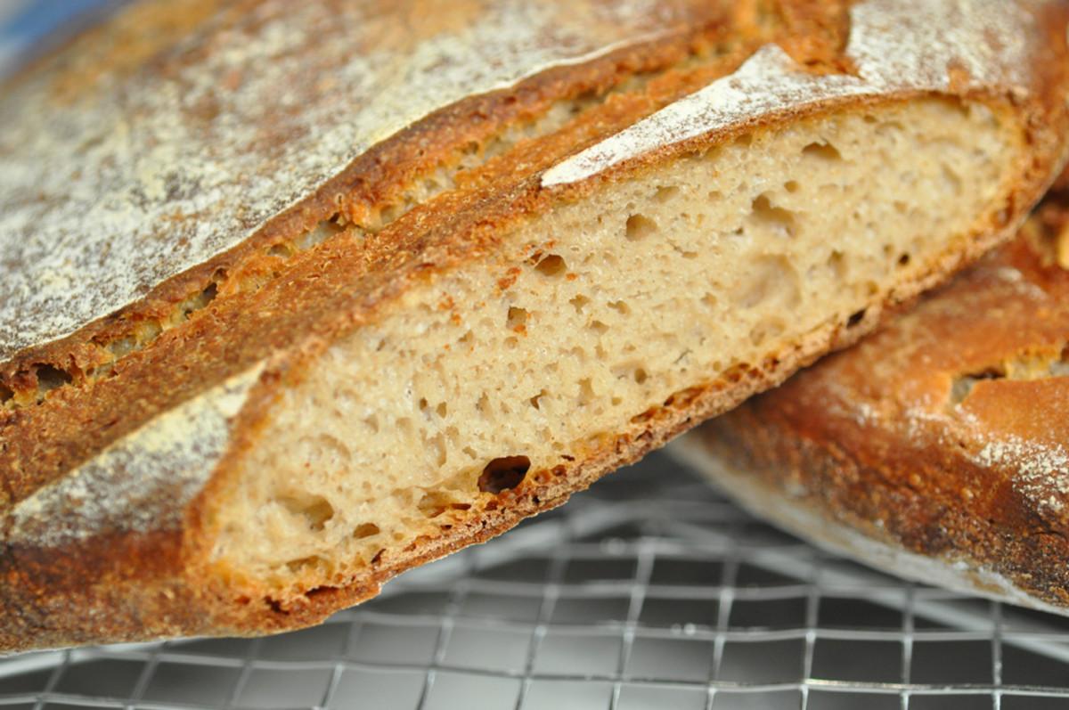 Buckwheat flour bread: internal texture was good despite flatness of loaf. Image: © Siu Ling Hui