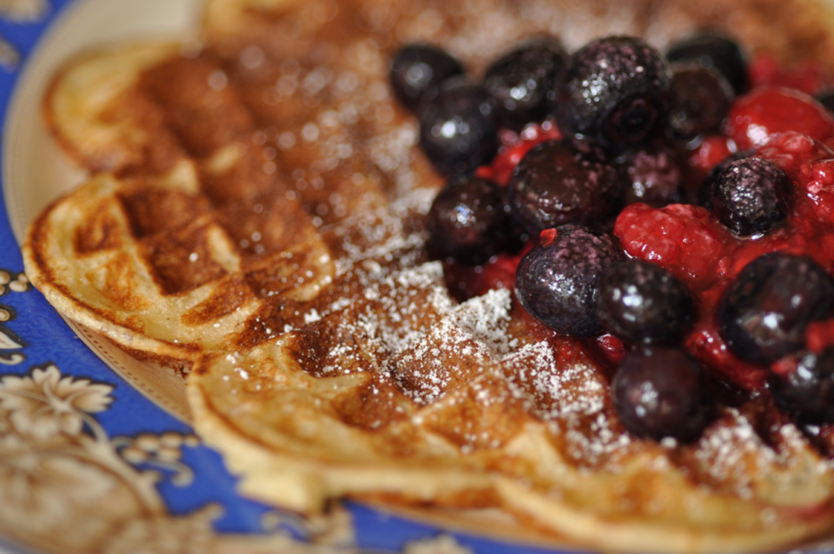 Buttermilk sourdough waffles with blueberry and raspberry compote.  Image: © Siu Ling Hui