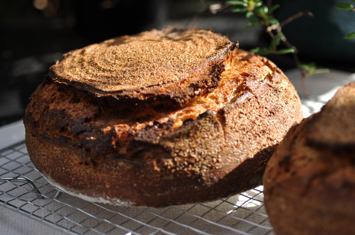 Loaf with 30% Australian Einkorn flour, 30% high extraction flour, and 40% bread flour. Crusted with bran left making high extraction flour. Image: © Siu Ling Hui