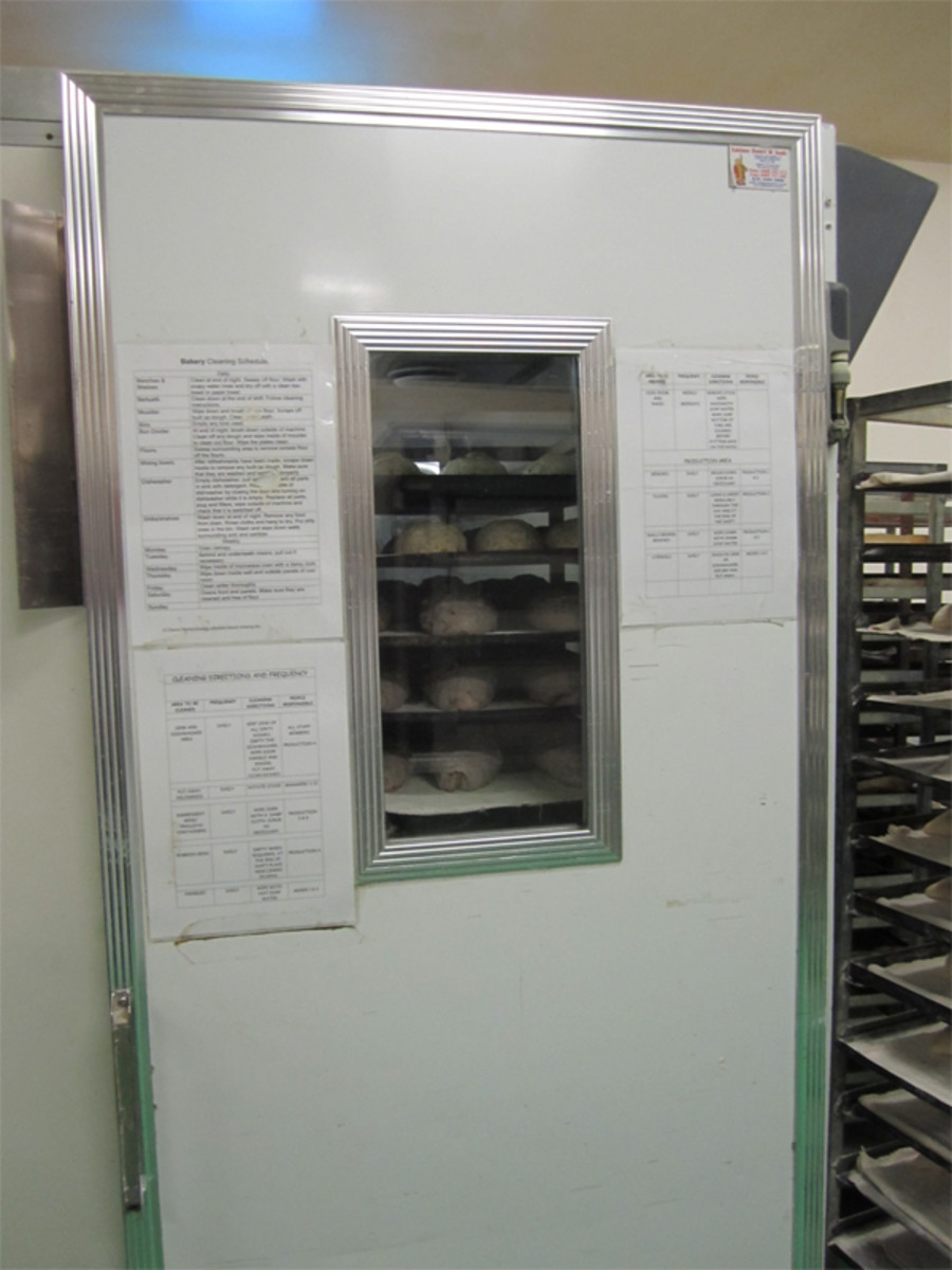 Proofing cabinet where loaves (except sourdough breads) undergo final rise.
