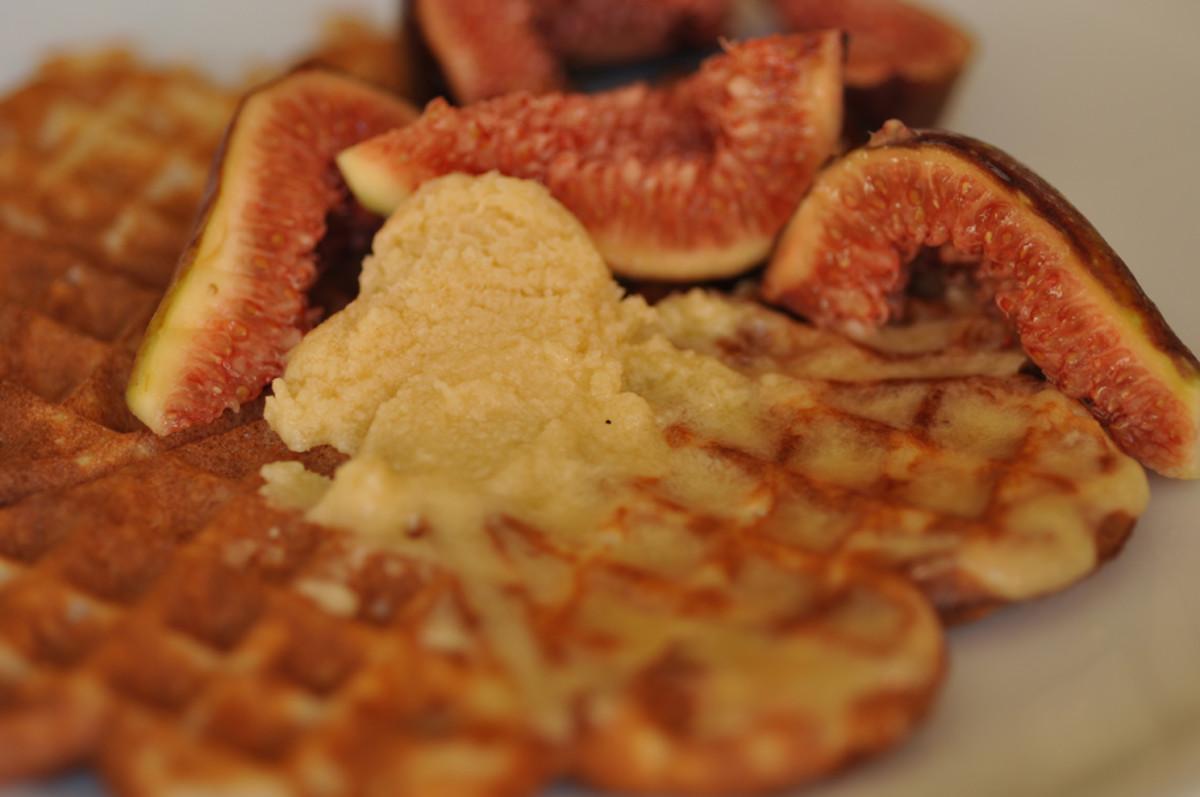 Sourdough starter waffles with honey butter and fresh figs. Image: © Siu Ling Hui