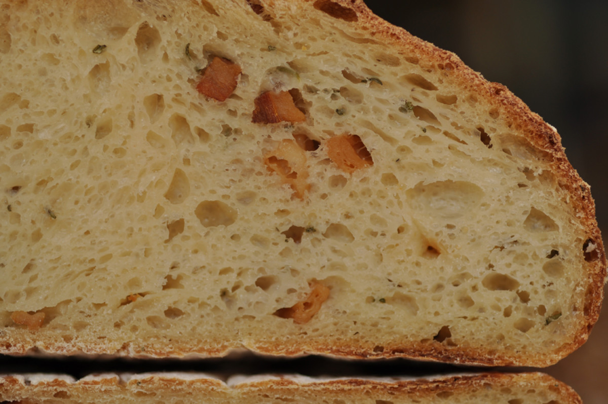 A close up of the crumb of the lard, garlic and rosemary bread. Image: © Siu Ling Hui