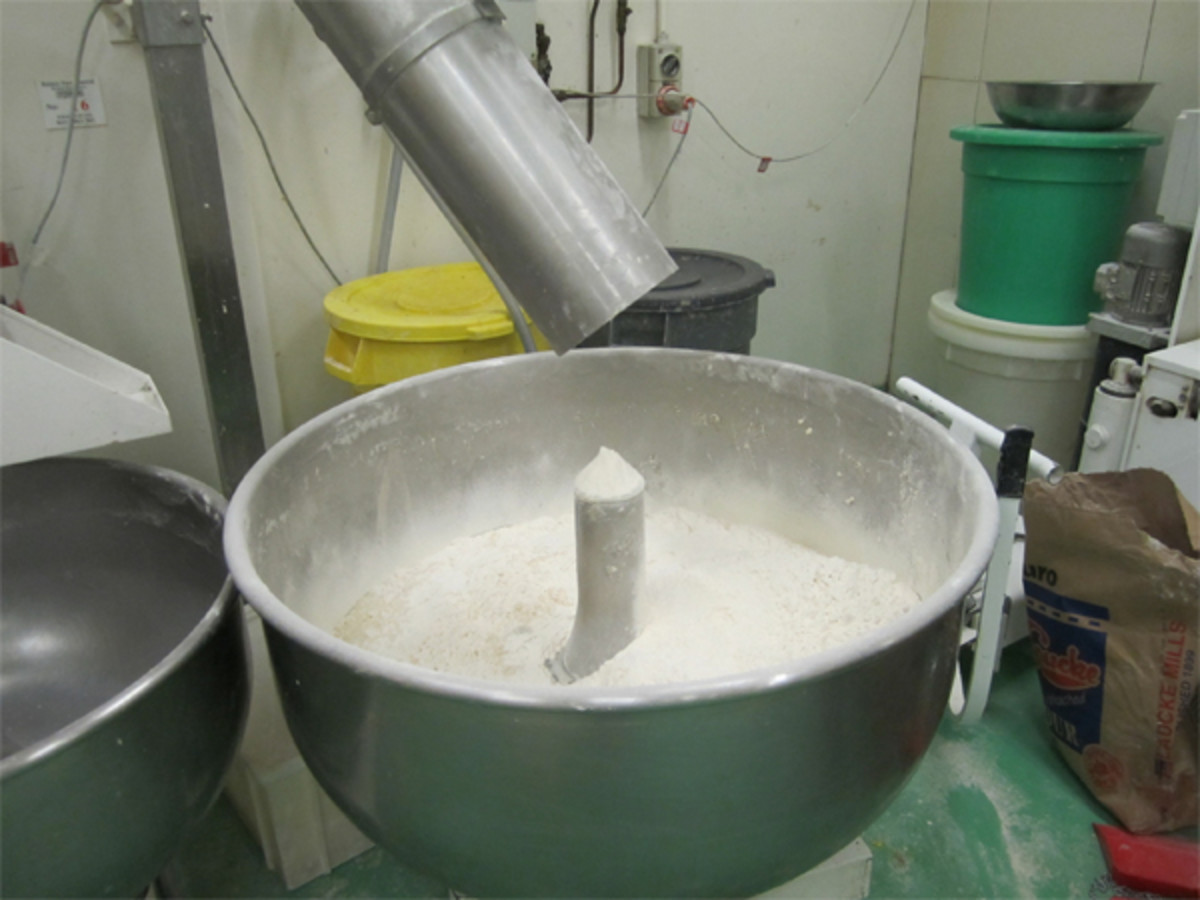 Flour is added to the leaven.