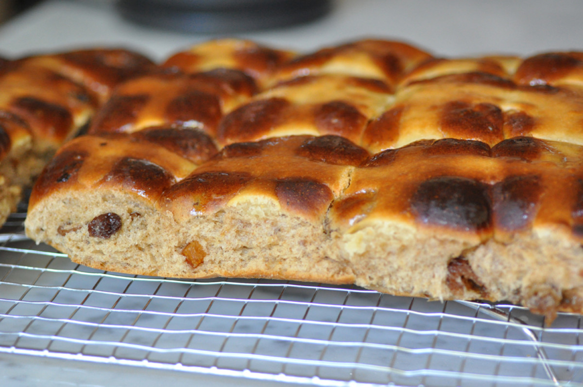 """Hot Cross Buns - first attempt. The """"cross paste"""" was somewhat of a disaster. Image: © Siu Ling Hui"""