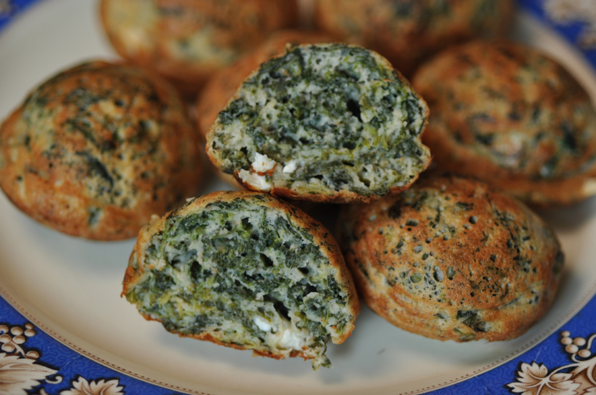 Cross-section of spinach and feta ebelskivers. Image: © Siu Ling Hui