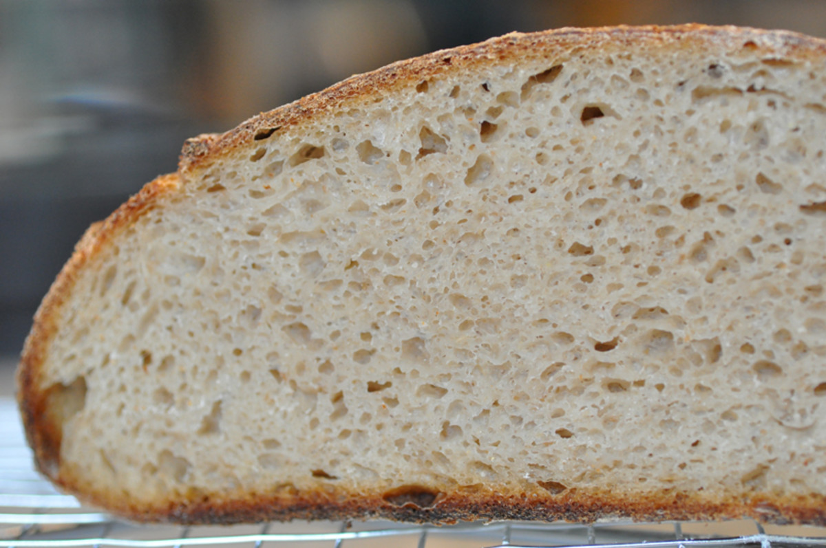 Close up of cut section of barley flour sourdough loaf. Image: © Siu Ling Hui