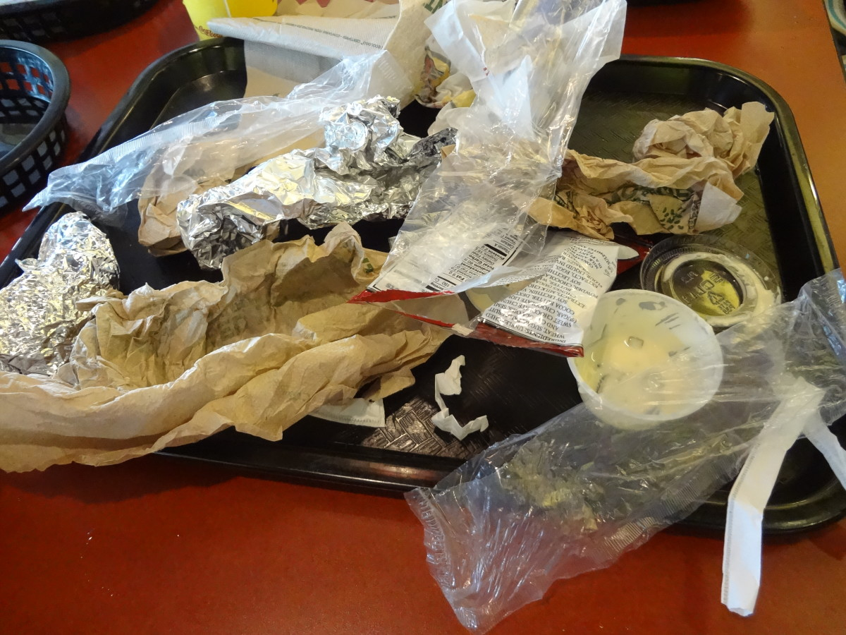 All the paper products and packaging can really add up.  This was from just three people during one meal.