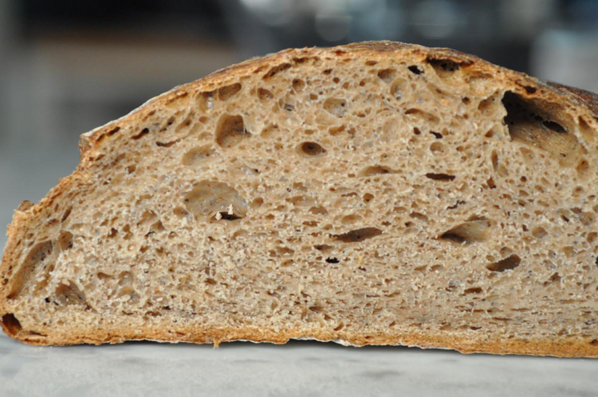 Roasted buckwheat flour sourdough loaf. Long bulk fermentation at around 16C. Image: © Siu Ling Hui