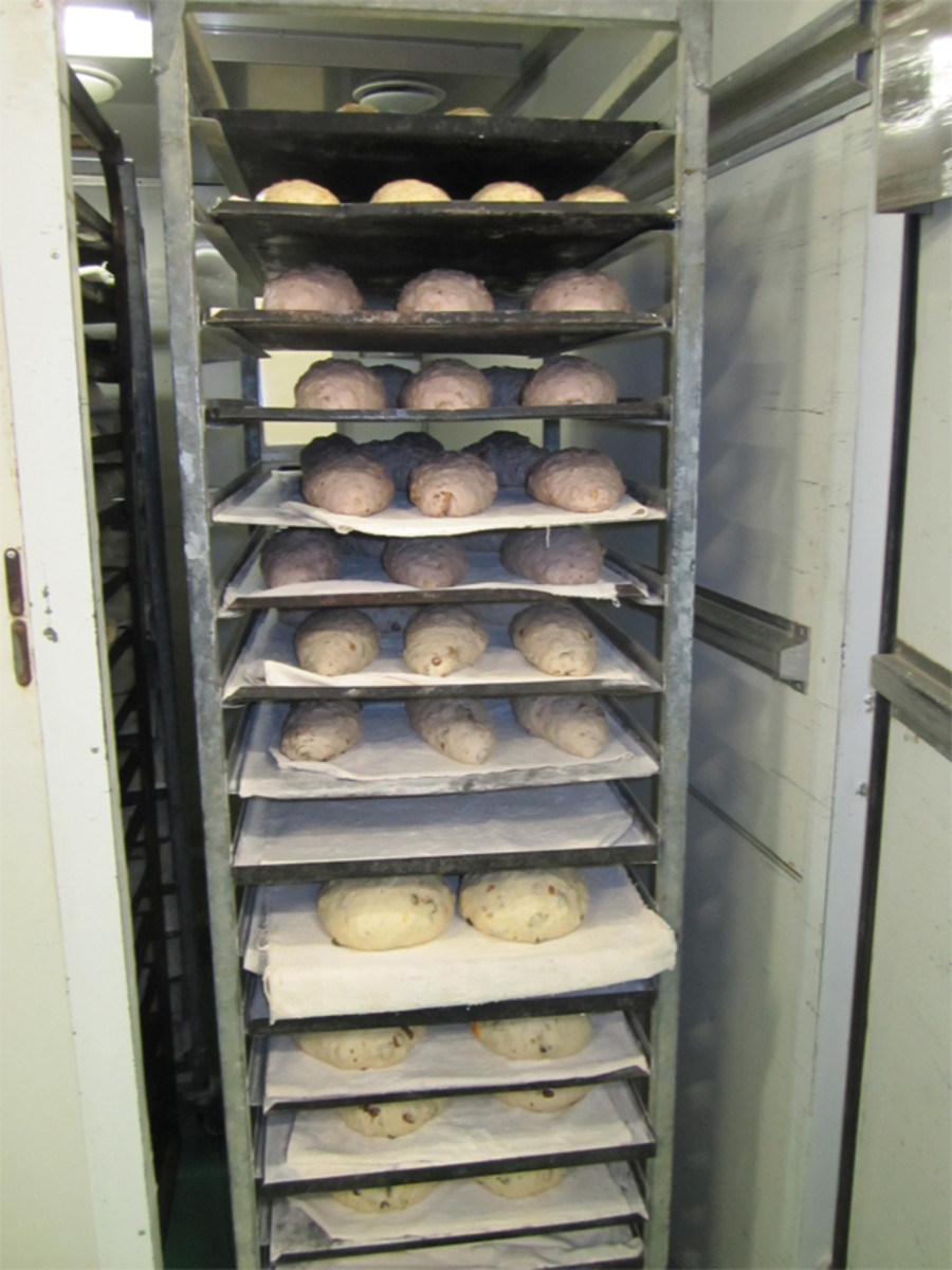 Sourdough loaves are not put into the proofing cabinet. Insteat they undergo final rise in the cool room or outside the proofing cabinet. Image: © Andrew O'Hara