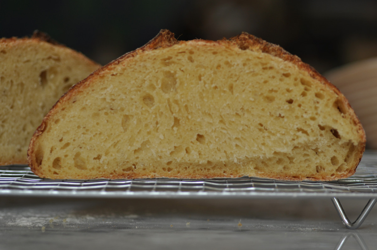 Cross section of the 100% semola loaf. I love the golden colour of the crumb. Image: © Siu Ling Hui