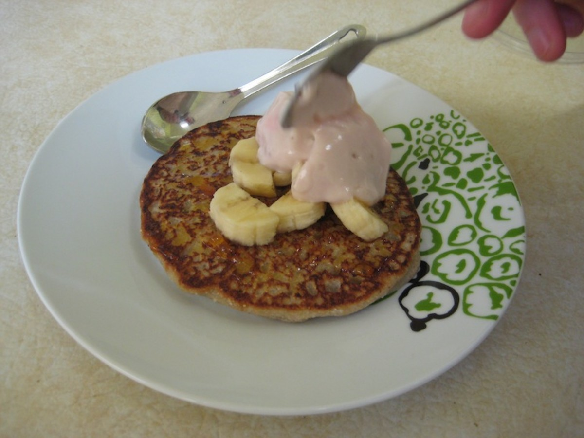Add Sliced Bananas and Soy Yoghurt for garnish