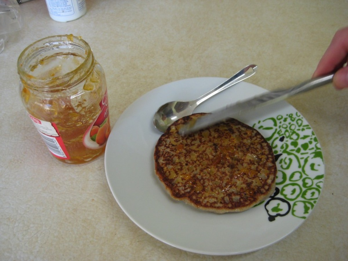 Spread a generous amount of fruit jam or maple syrup
