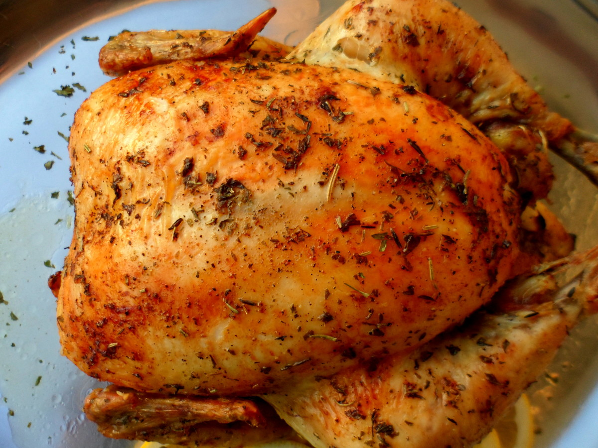 Our finished lemon and herb roast chicken.