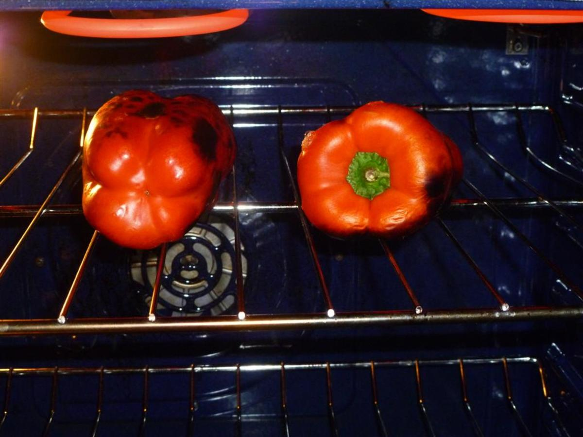 Char the peppers on all sides