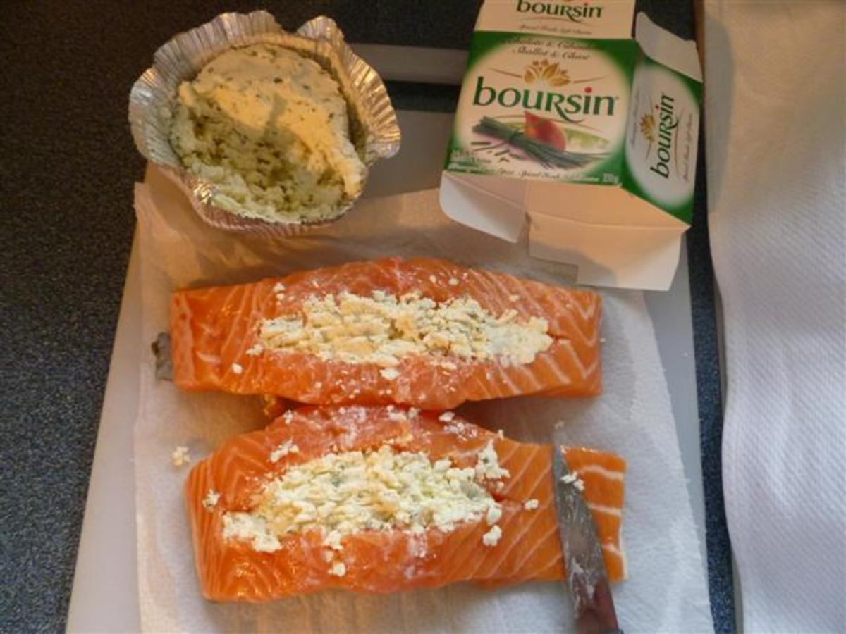 Stuff the salmon with Boursin