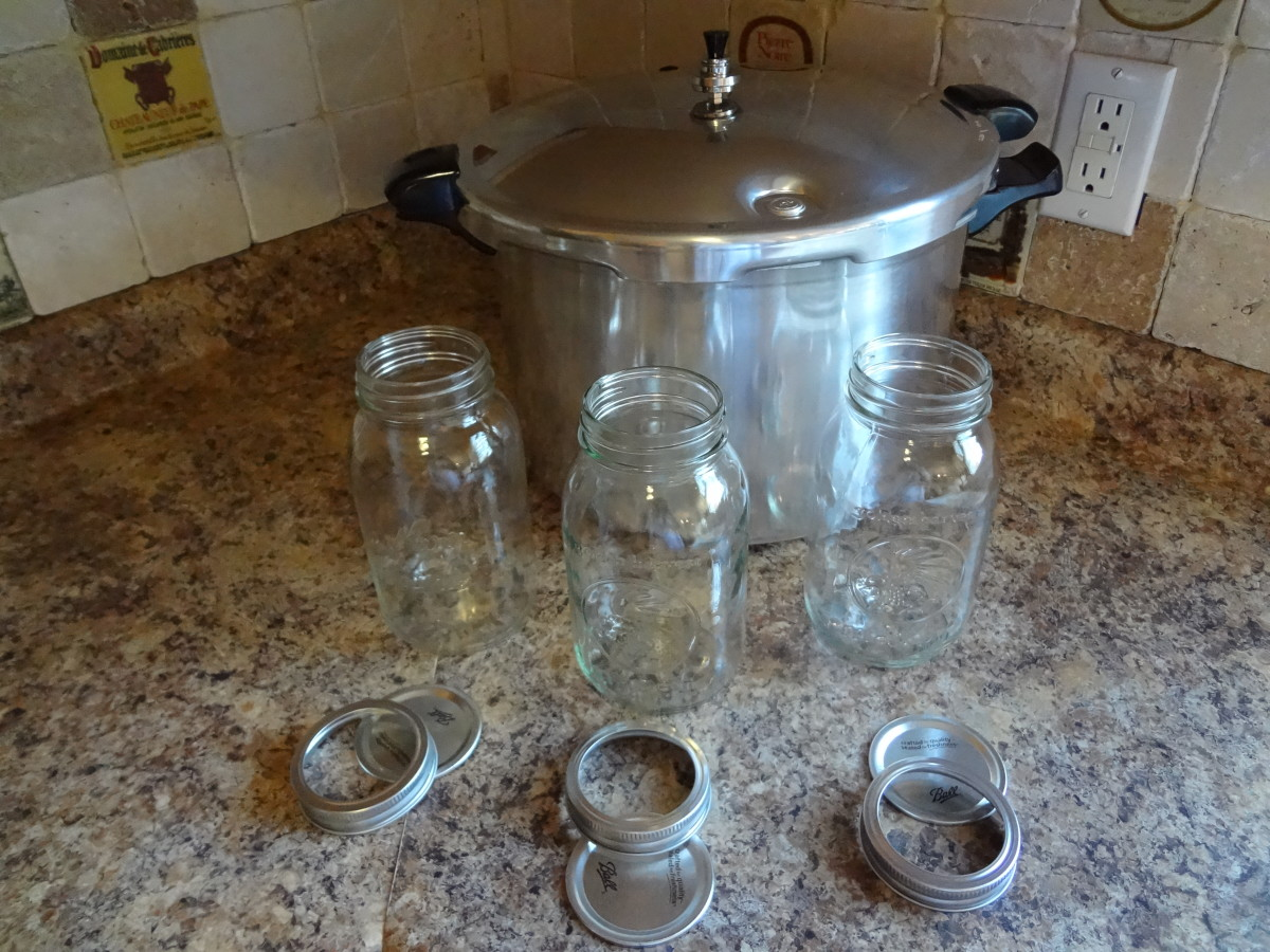 Canning essentials: pressure cooker, jars, lids, and bands