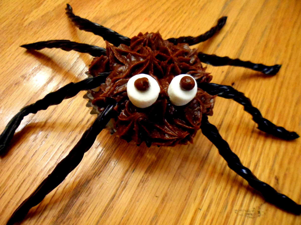 Add 2 marshmallows and dot with icing to create the eyes of the spider.
