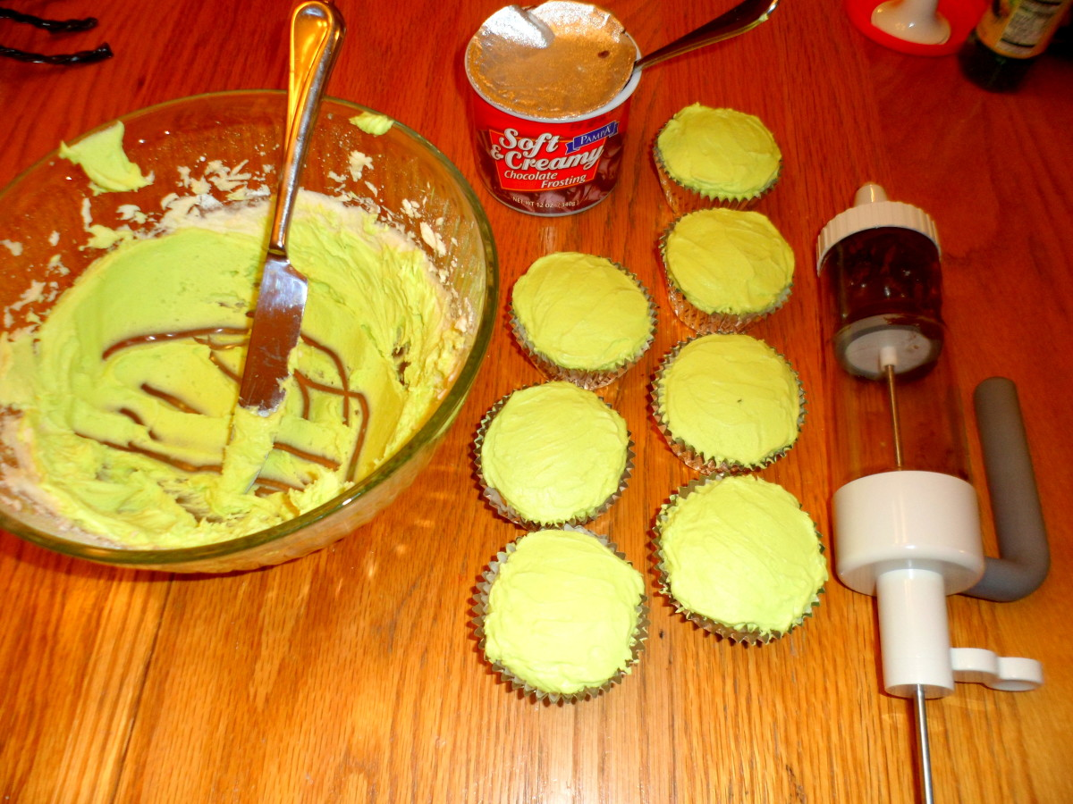 Frost cupcakes with lime green buttercream icing.