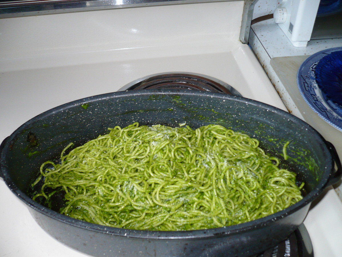 Mix the pesto into drained pasta, in the same pan.