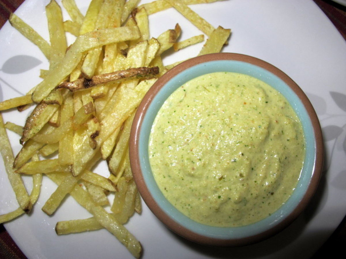 Green aji sauce and French fries