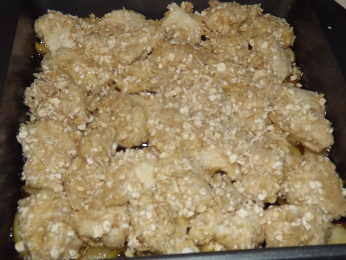 Apple cobbler ready for the oven.