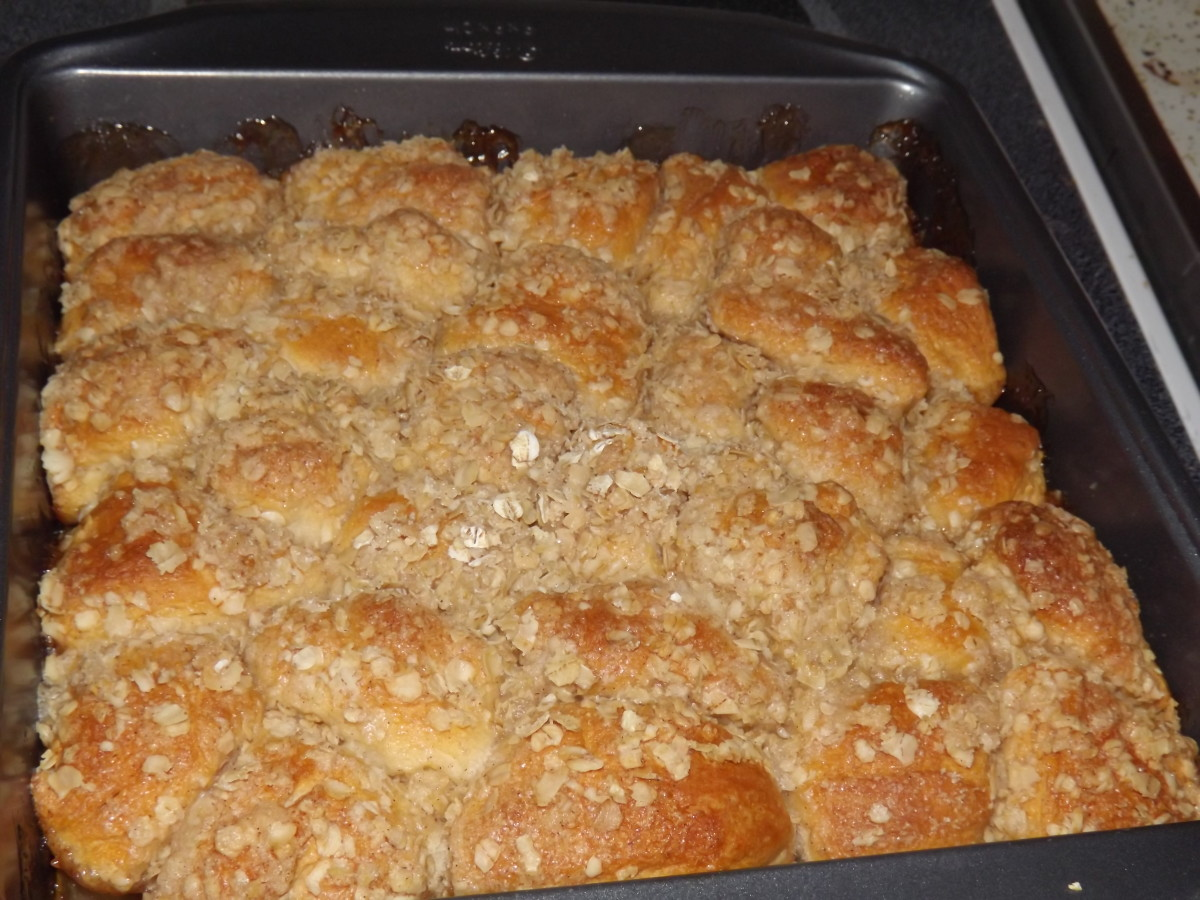Finished apple cobbler ready for cooling.