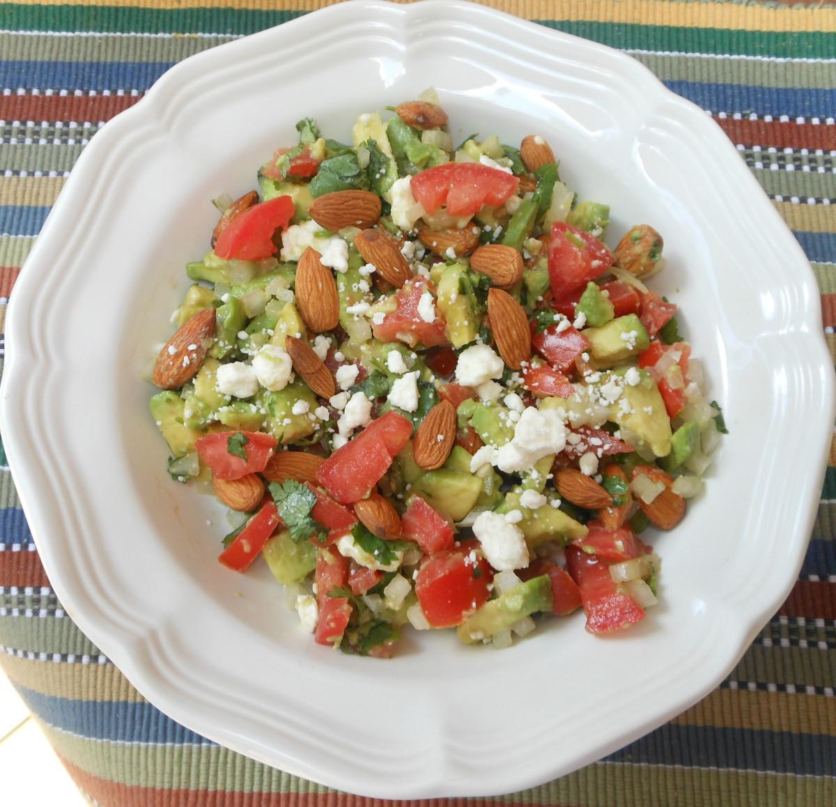 Avocado, Almond and Feta Cheese Salad