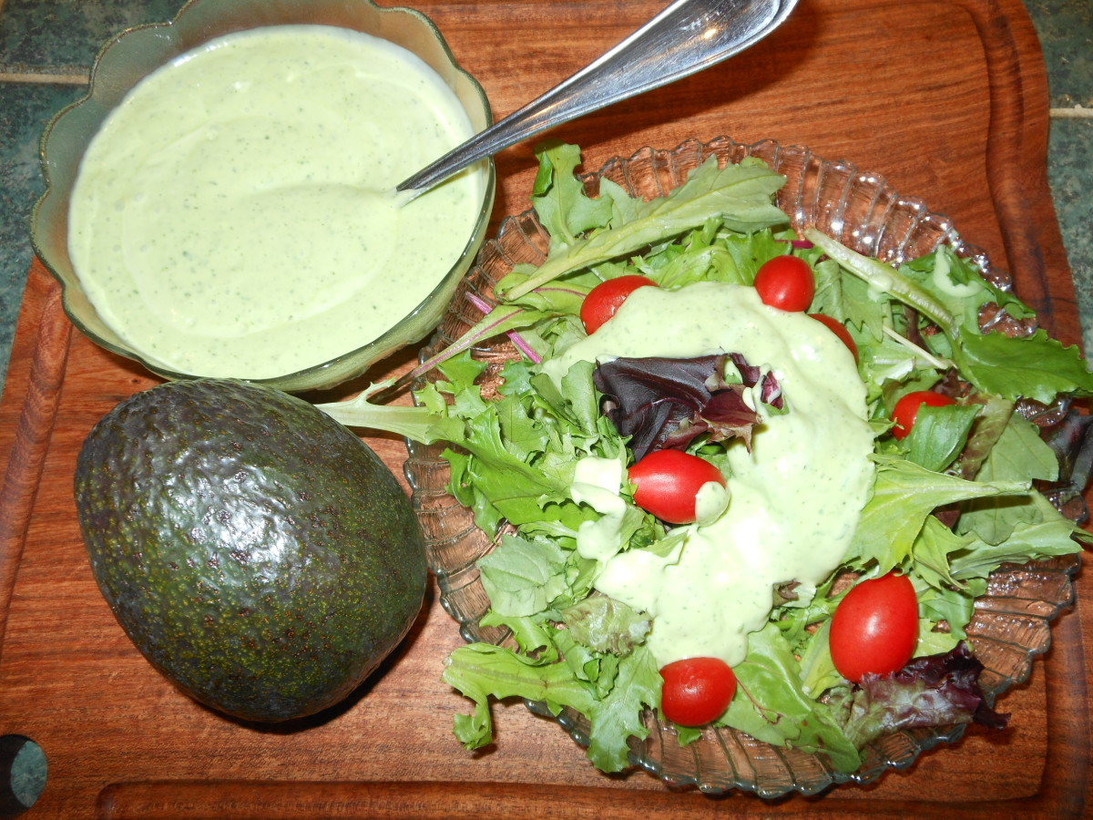 Avocado Ranch Dressing is a nice change from traditional ranch dressing. All you need is one large avocado, 1 cup of cilantro, 1/2 a cup of ranch dressing, 1 cup of water and a blender. Serve as a salad dressing or as a dip for your appetizers.