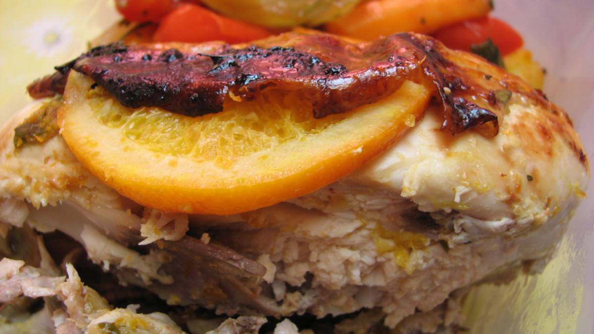 Roast orange chicken.