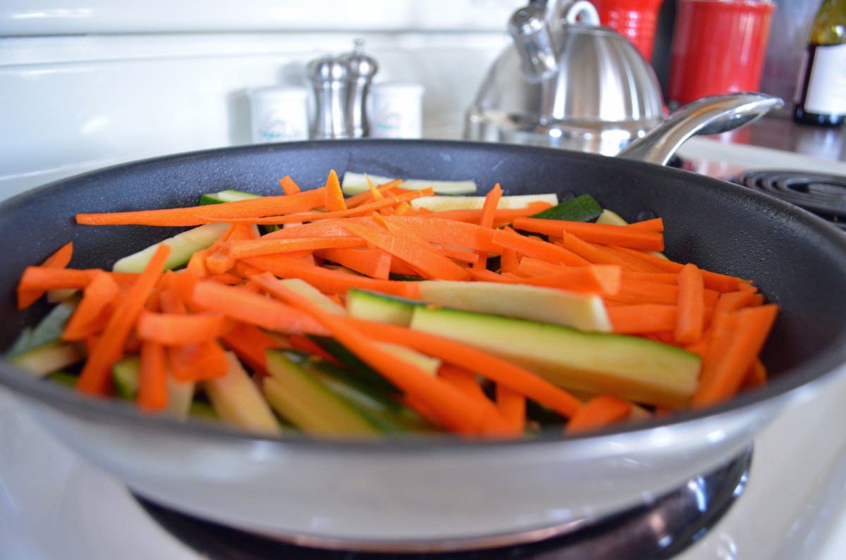 Tenderize your match-stick cut veggies for a few minutes after spraying with cooking spray or use a dab of olive oil.