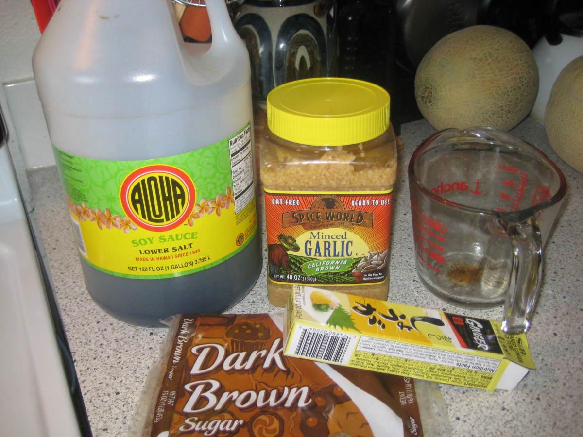 When considering what shoyu (soy-sauce) to use, remember one thing;  Aloha shoyu sweet, Kikoman  shoyu salty.