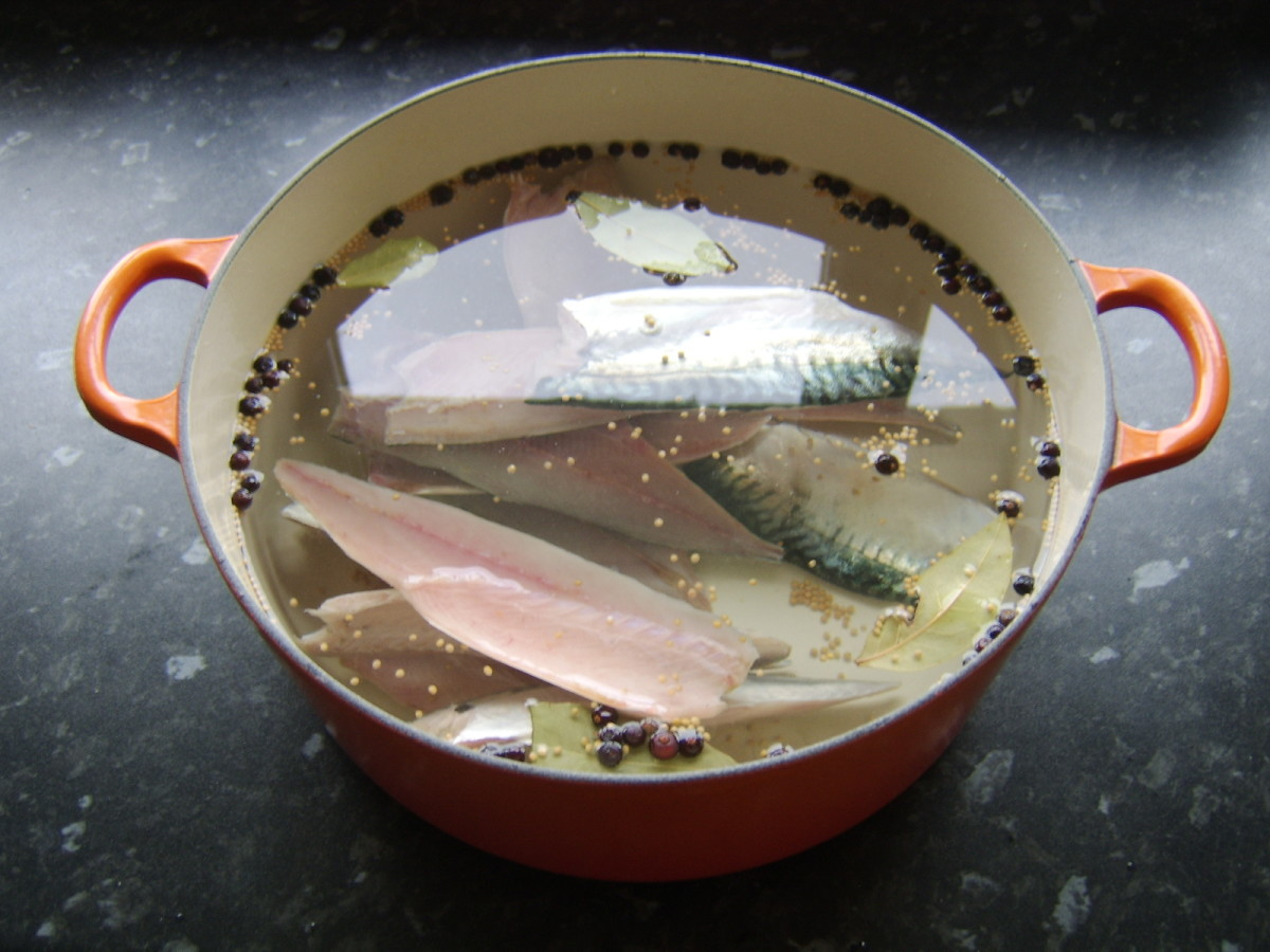 The mackerel fillets are soaked in the brining solution for twenty to thirty minutes