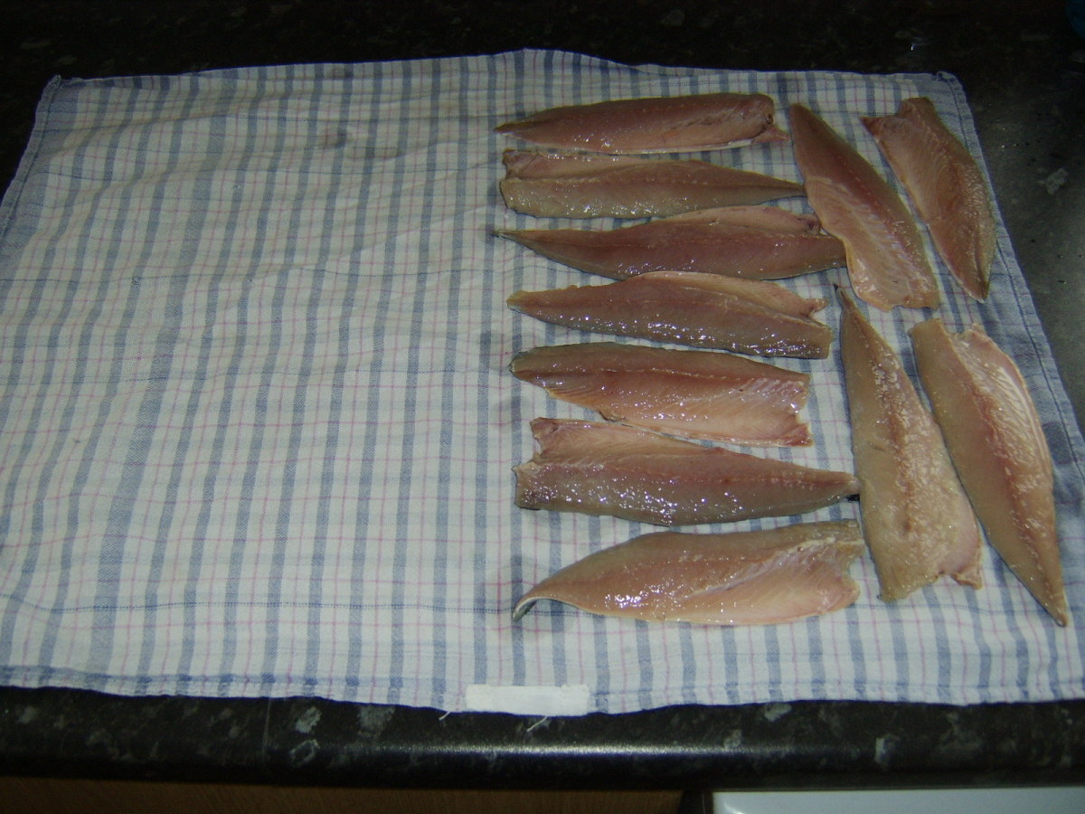 Rinsed mackerel fillets are patted dry in a clean tea towel