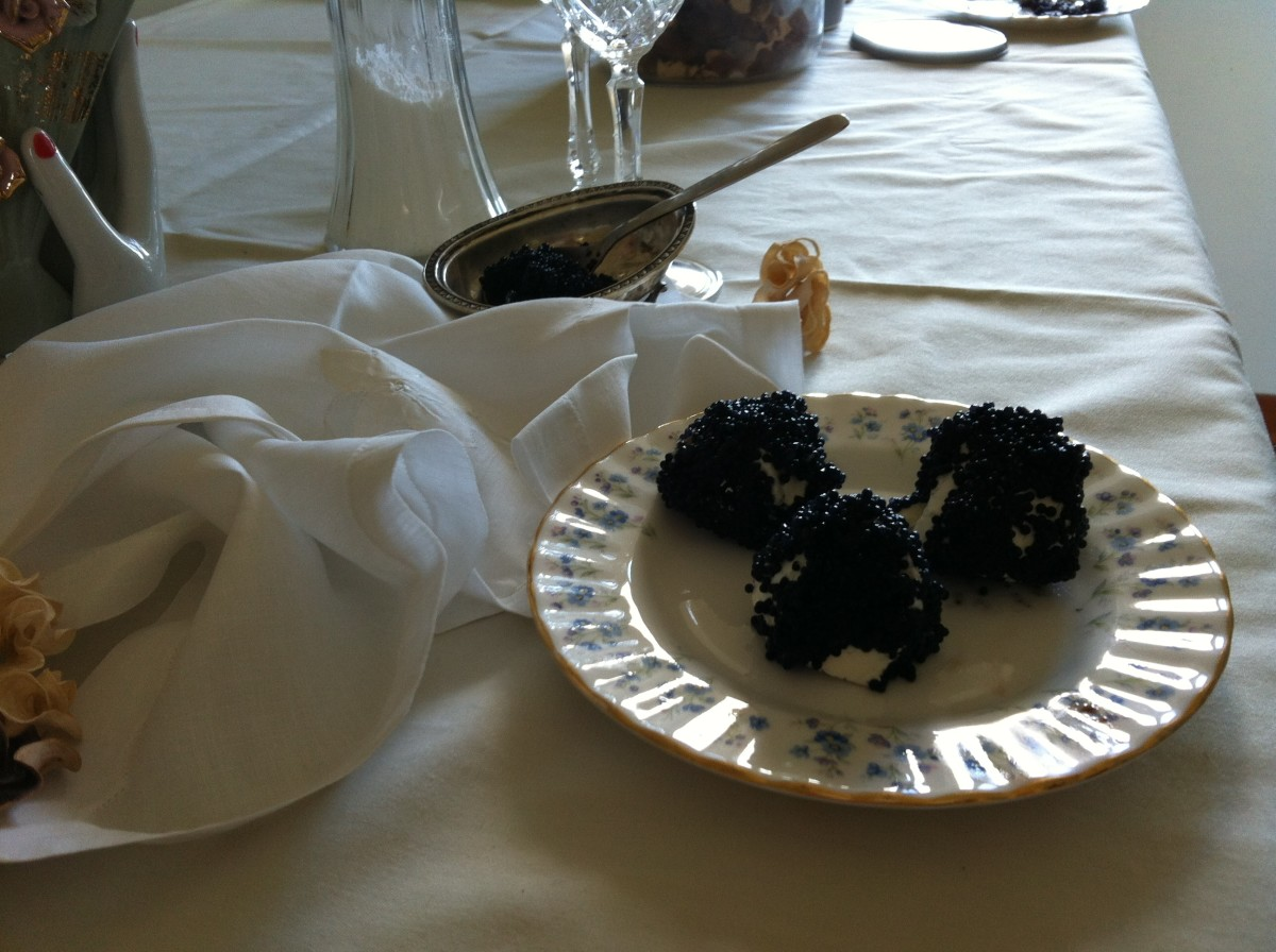 Caviar coated cream cheese balls are a sure hit.