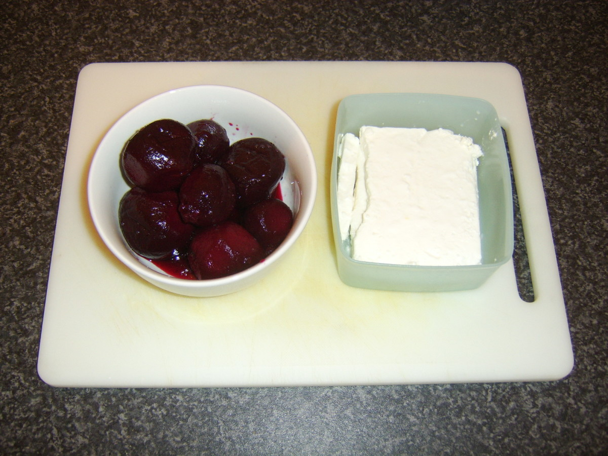 Cooked beets and feta cheese