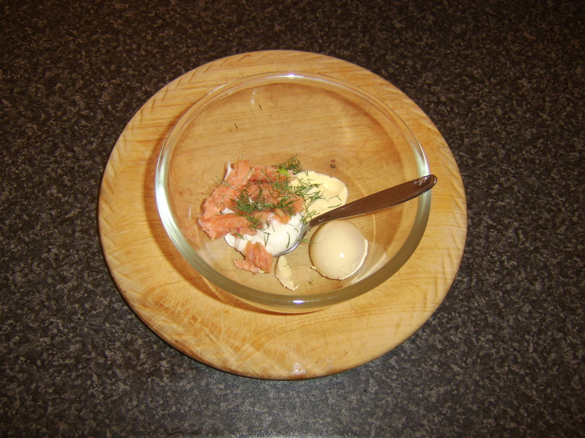 A little of the smoked salmon is mixed with duck egg yolk, mayo, Dijon mustard and dill
