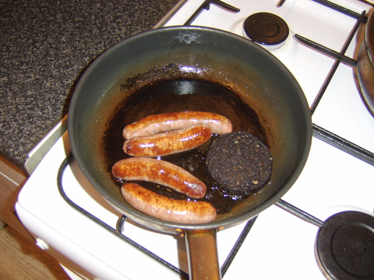 Sausages and black pudding are fried first