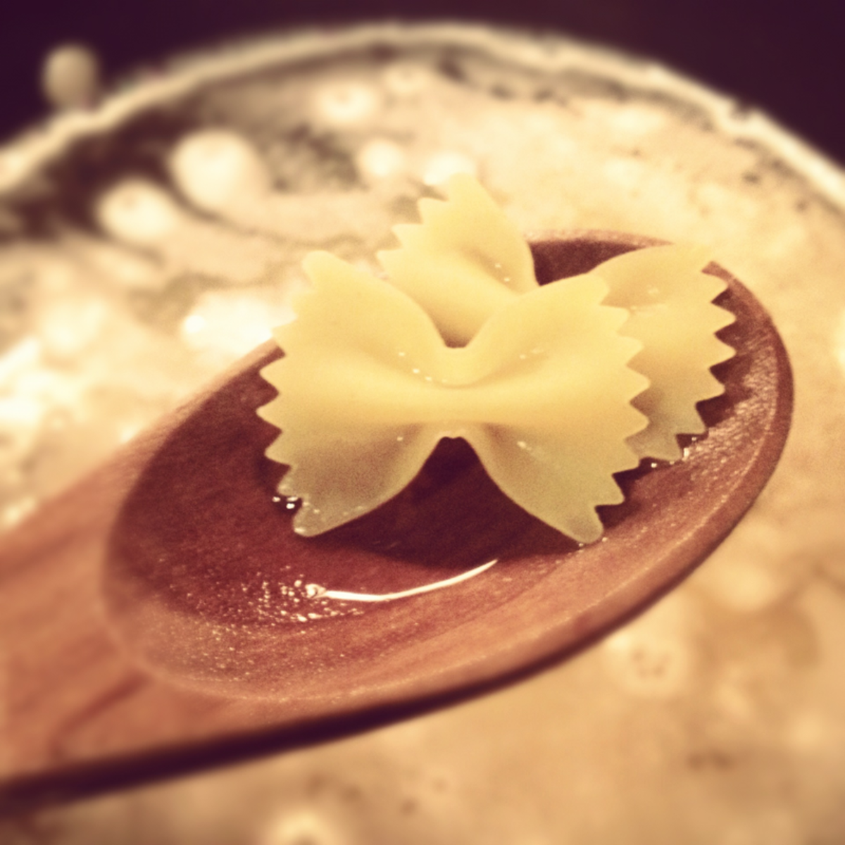 Pasta Bow ties on Wooden Spoon