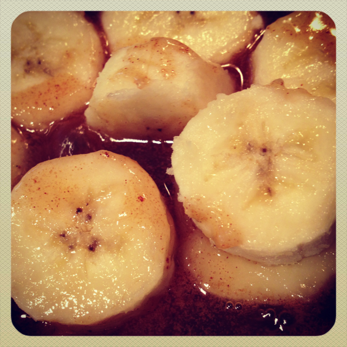 Cut bananas length-wise if they are the star of the show.  Slice them into pieces if they'll be used as a topping.