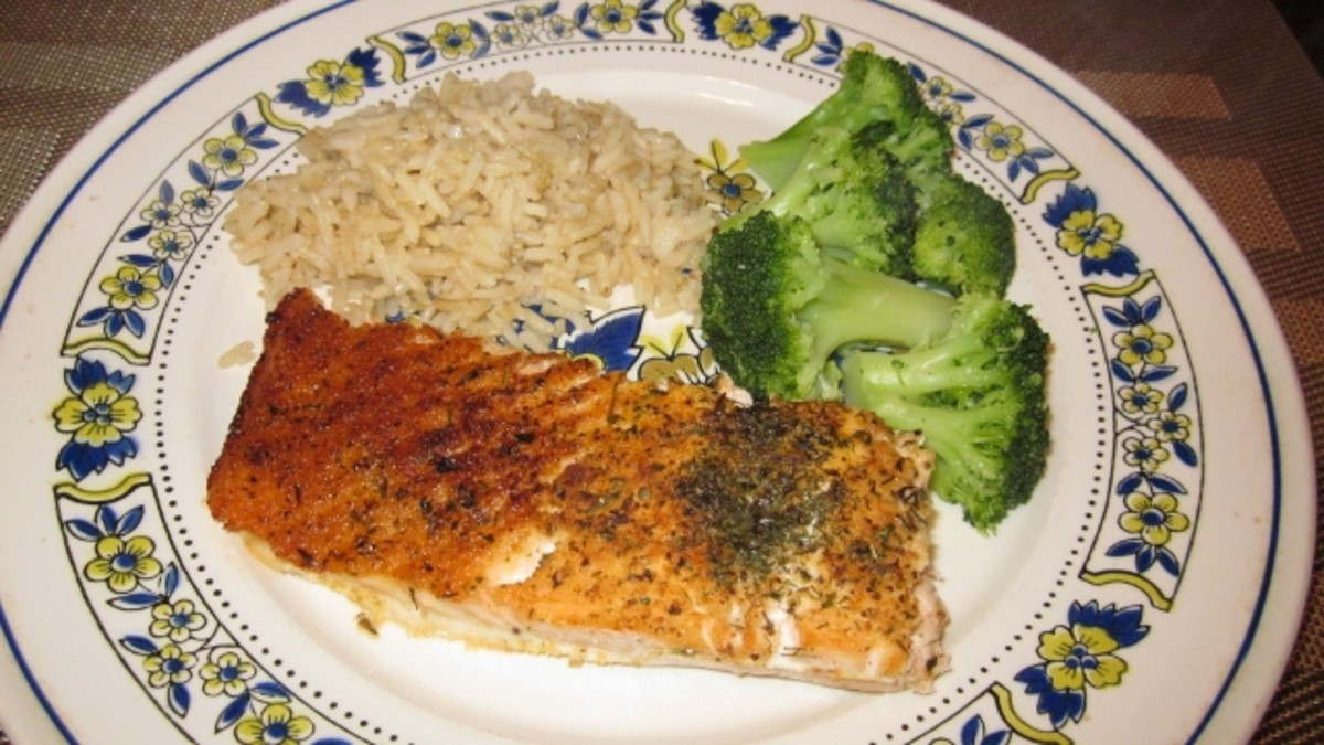 Serving Suggestion: A healthy plate includes modest portions of salmon fillet, fresh steamed broccoli and brown rice.