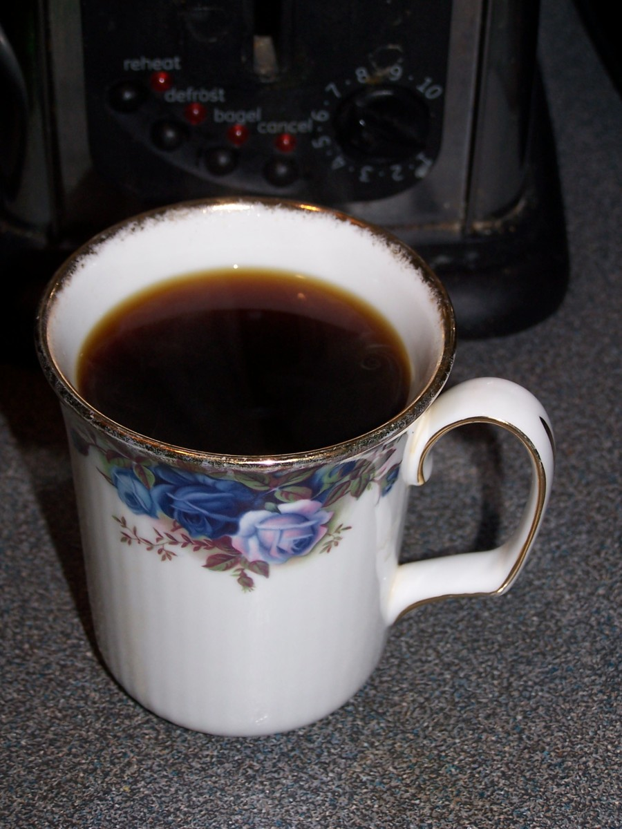 The finished product—a steaming mug of chicory.