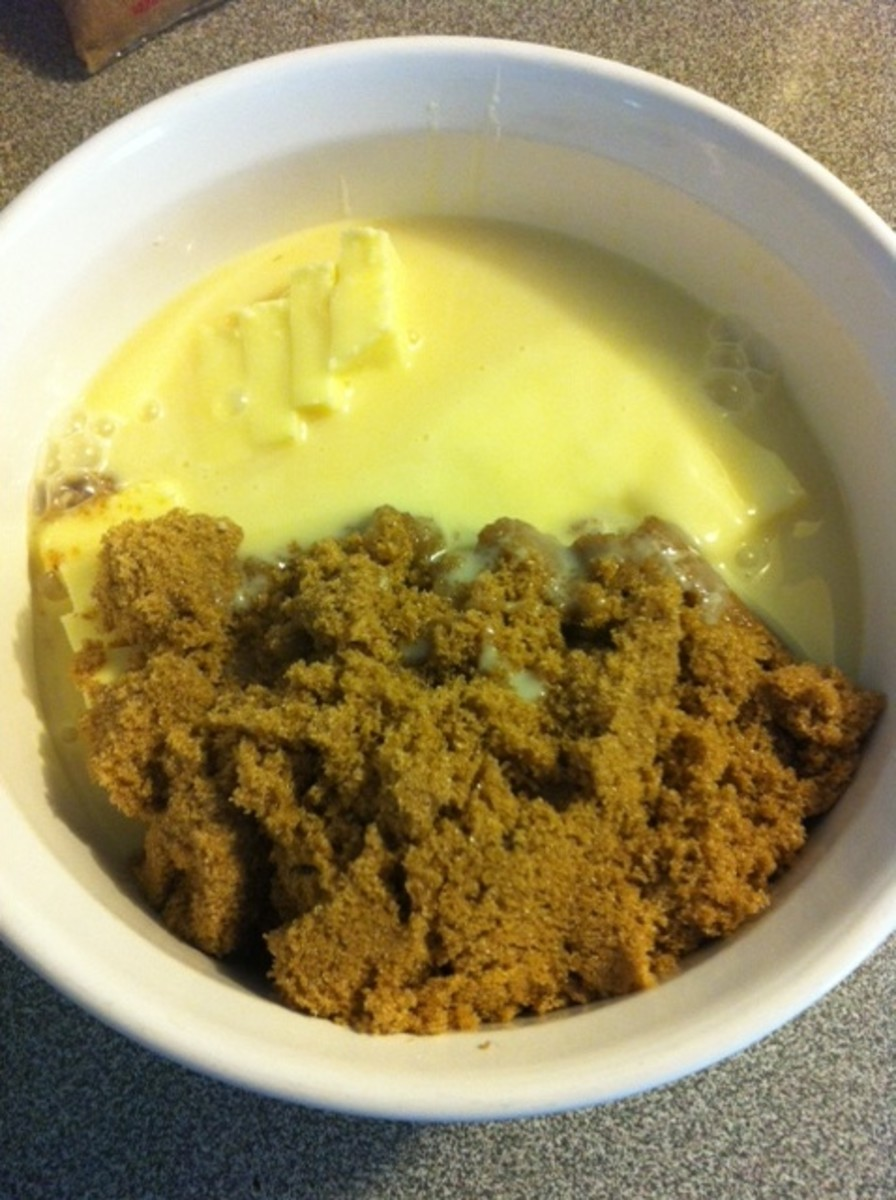 Brown sugar, condensed milk and butter going in the microwave