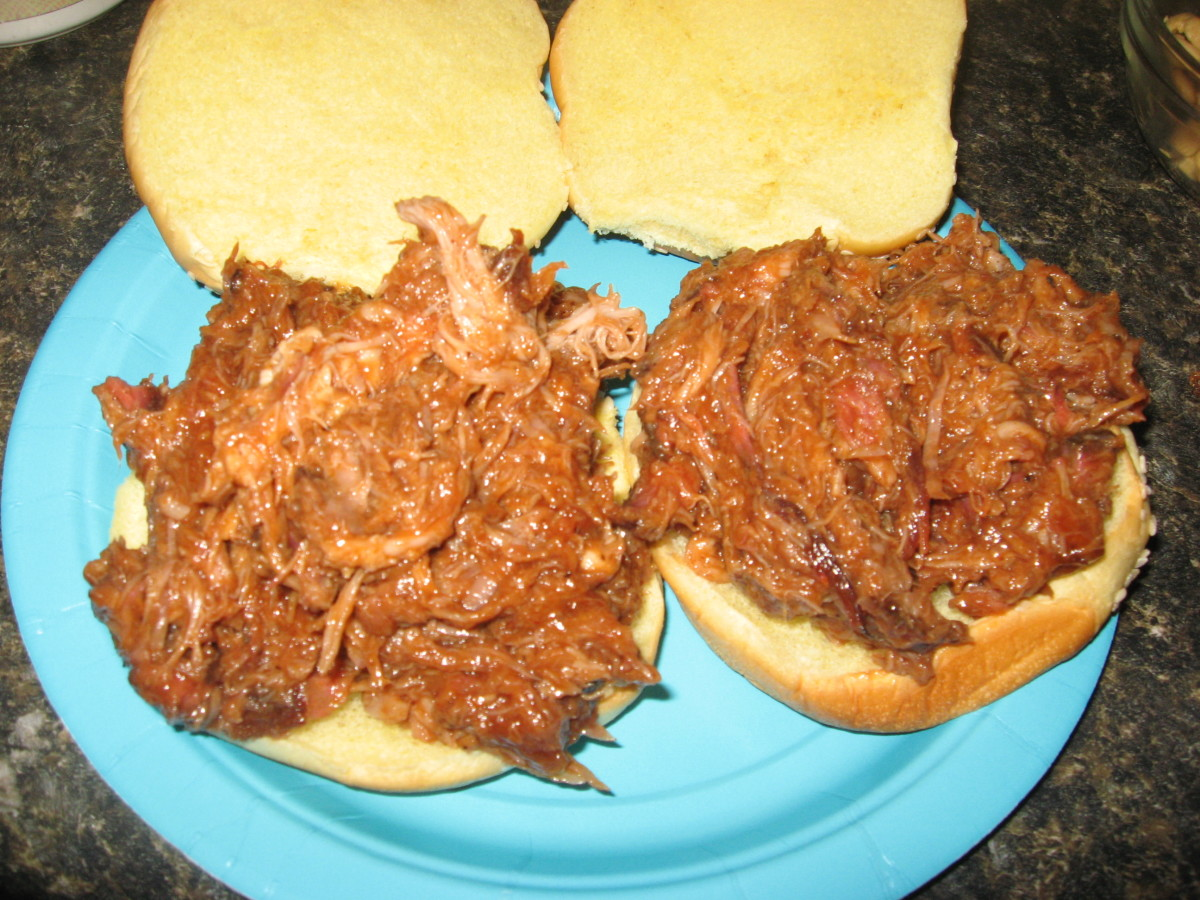 We like lots of BBQ sauce with our pulled pork.