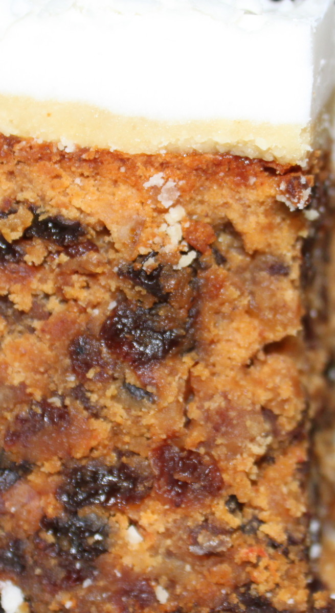 Up close: deliciously moist and subtly boozy. Indulge! It's Christmas.