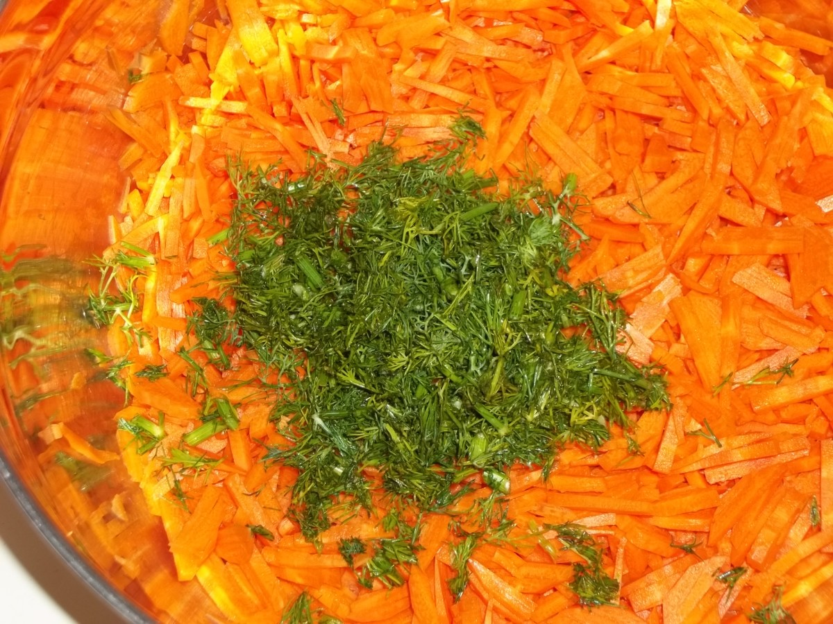 Shredded carrots and chopped dill.