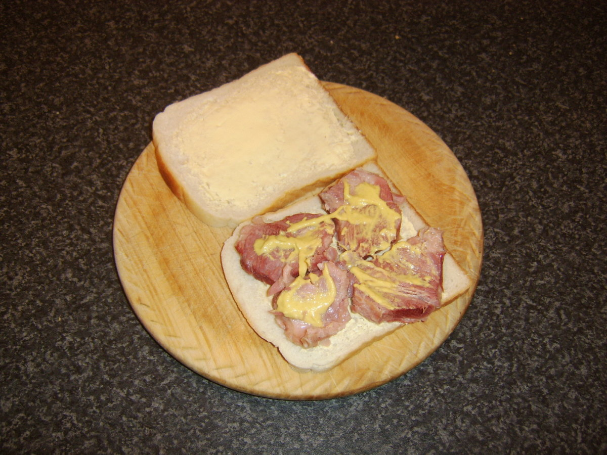 A ham and mustard sandwich is an excellent way of enjoying any excess meat