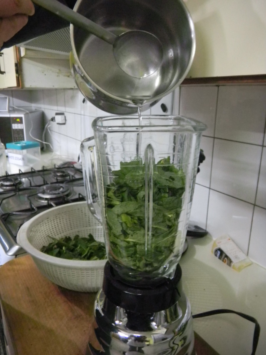 pour the warm sugar & vinegar liguid over the leaves whilst blending